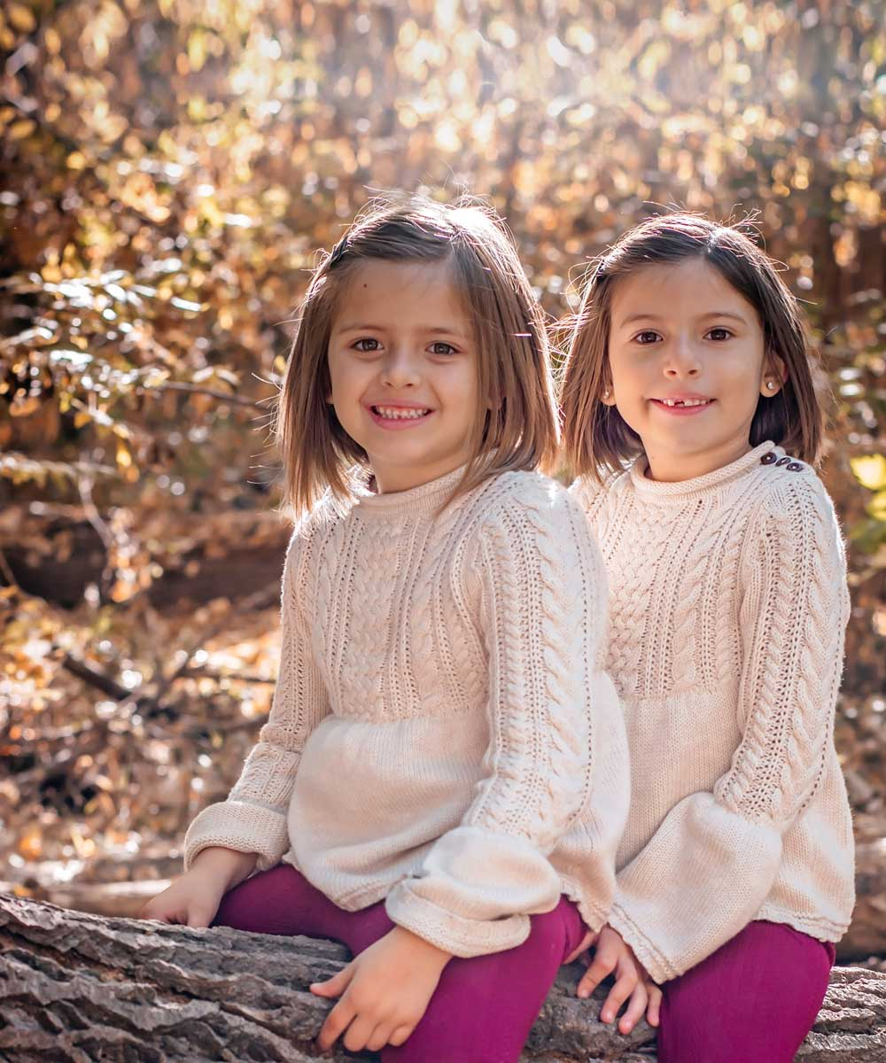 Outdoor photo of little girls before retouching
