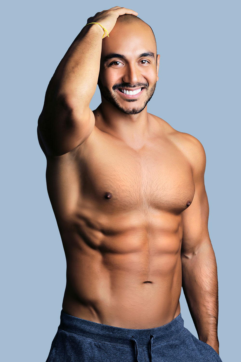 body muscles reshaping, chest hair retouching on a model man sample