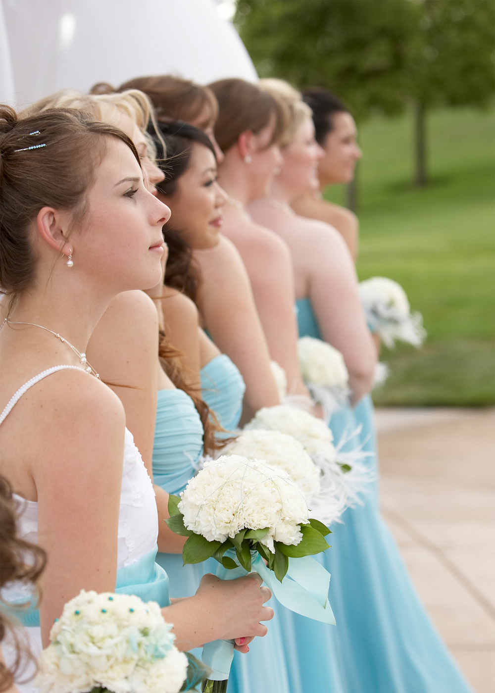 Wedding photo of bride maids before retouching