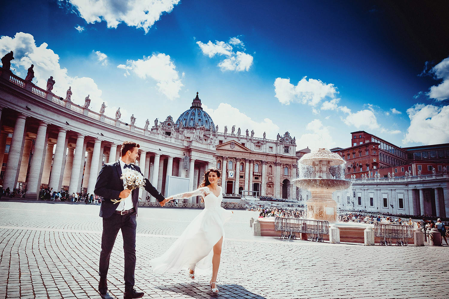 Wedding photo editing, people removal from photo beside vatican fountain