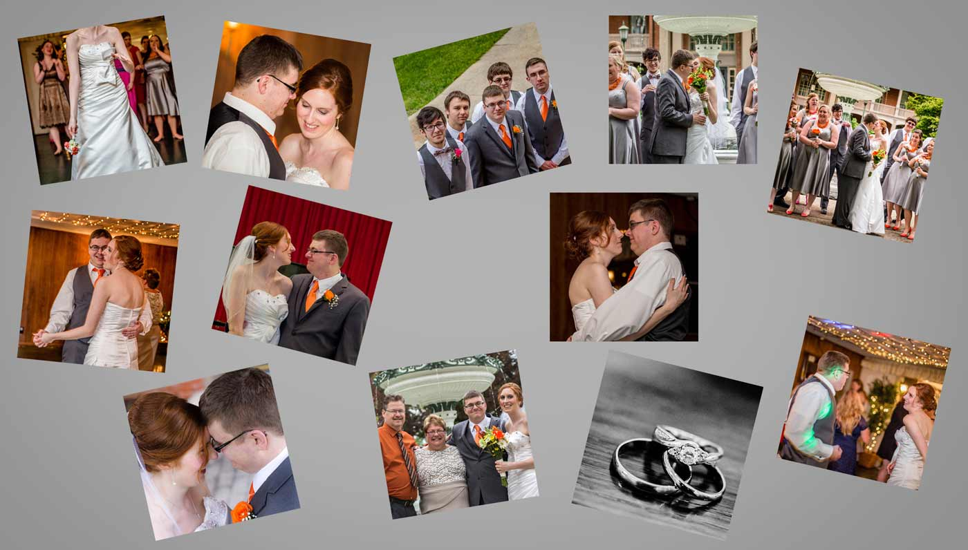 Multiple wedding photos collected