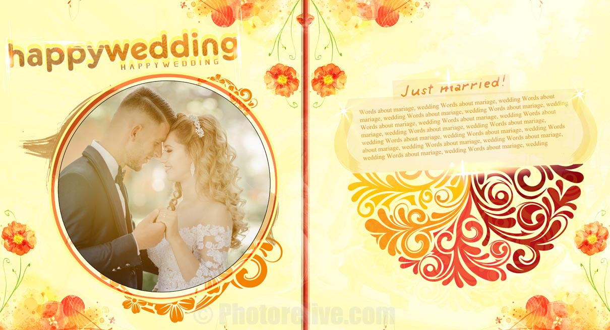 flowery wedding photos photobook design