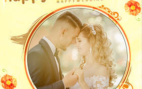 yellow flowery wedding photo