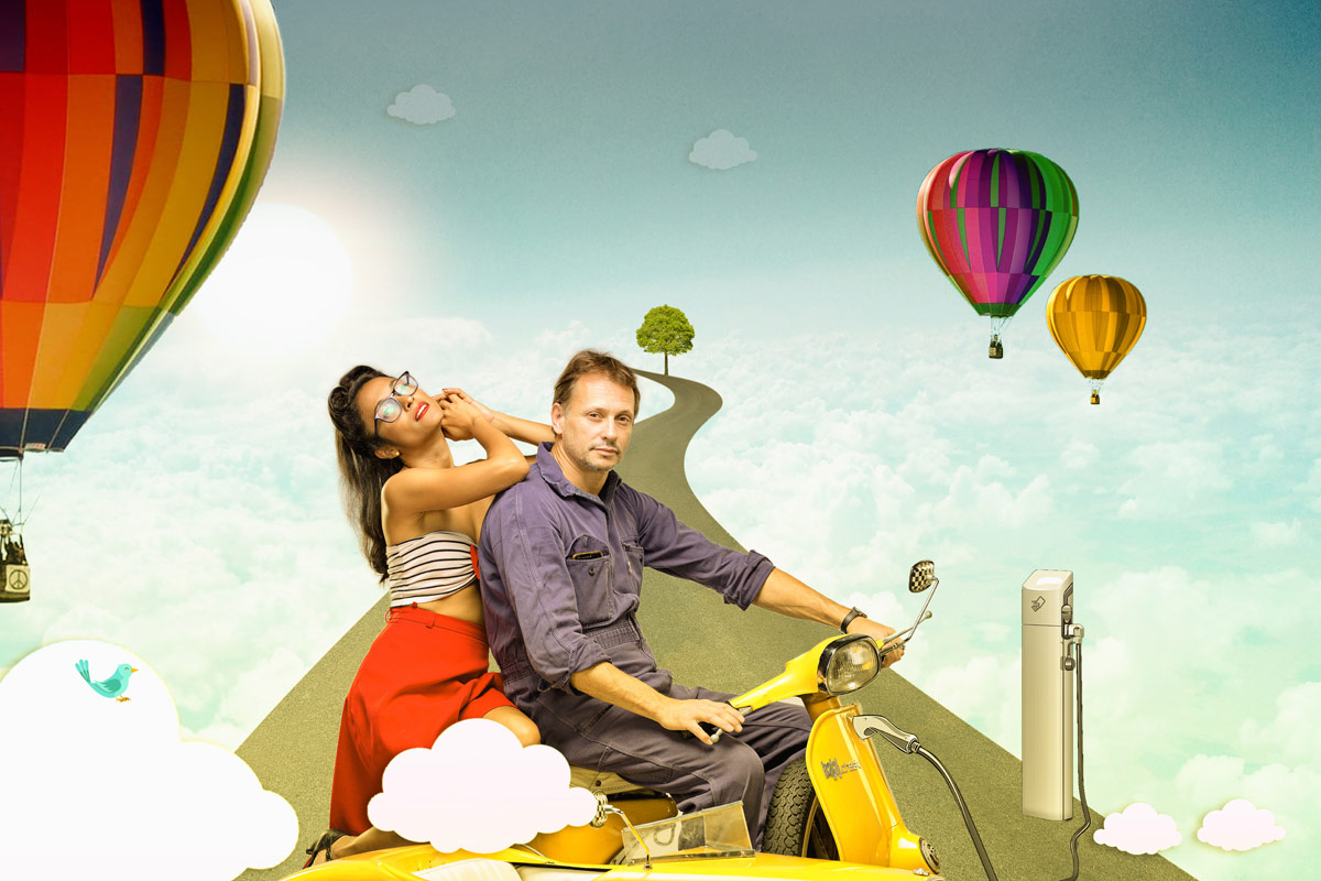 Fantasy photo manipulation photoshop editing in sky with balloons