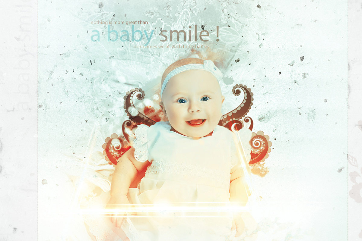 retouching Newborn photo editing with background manipulation