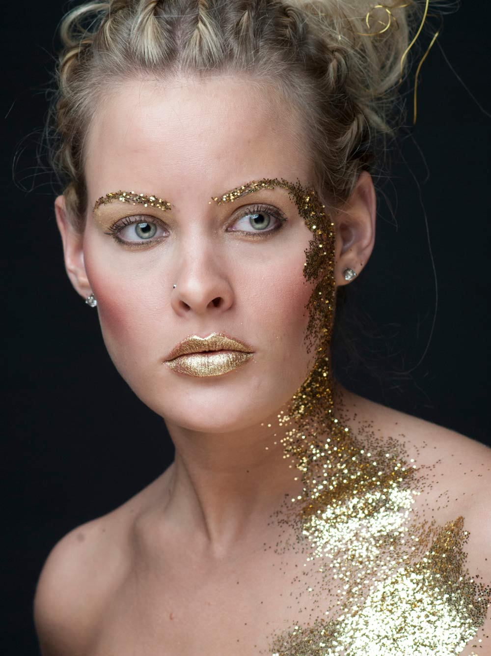 Makeup photo editing Model girl with glitter on face and lips