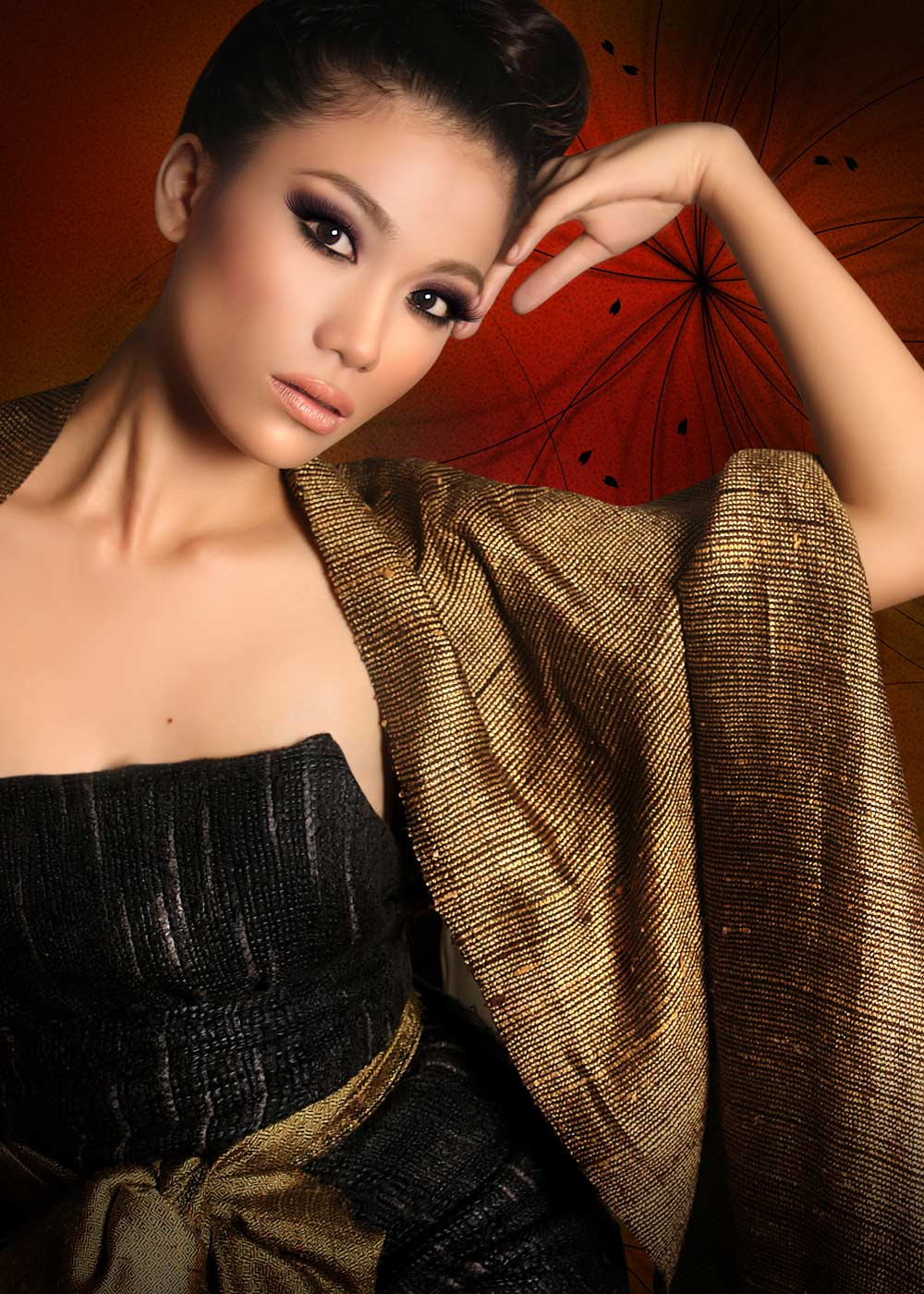 Highend model photo retouching with background changing highlighting skin of model