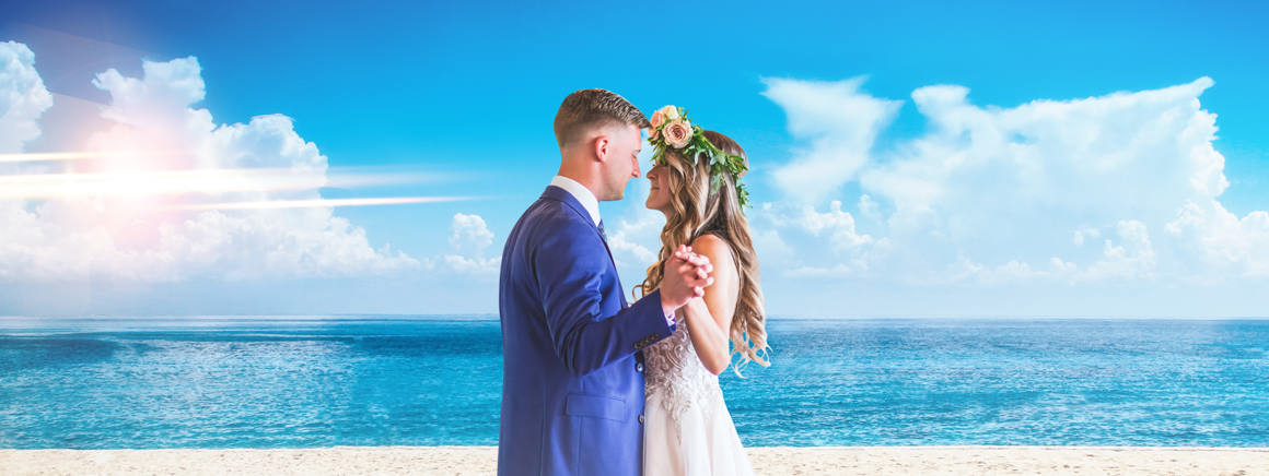 Wedding photo retouching services, bride and groom on the beach